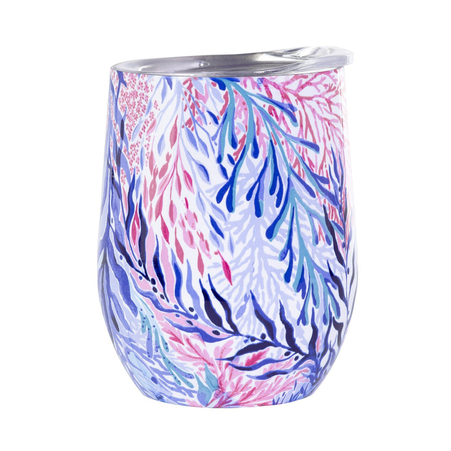 Classic Monogrammed Lilly Kaleidoscope Coral Stainless Steel Wine Glass With Lid, Drinkware, Sunny and Southern, - Sunny and Southern,