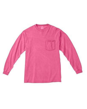 Lilly Circle Monogrammed Long Sleeve Comfort Colors Pocket T shirt, Ladies, virgina, - Sunny and Southern,