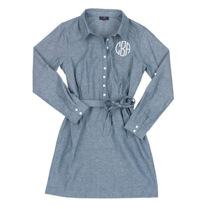 Monogrammed Chambray Dress, Ladies, WB, - Sunny and Southern,