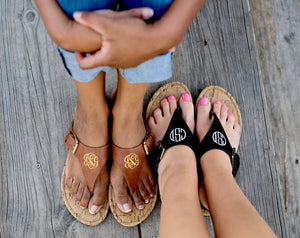 Monogrammed Sandals, Accessories, WB, - Sunny and Southern,