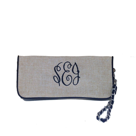 Monogrammed Monogrammed Burlap Jute Wristlet Clutch - Sunny and Southern - 1