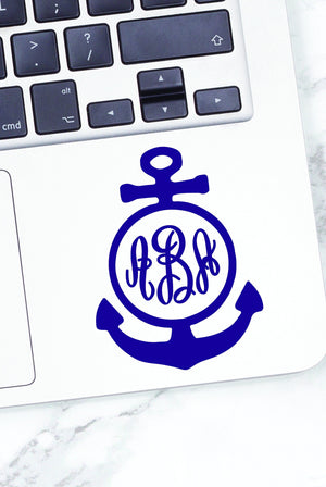 Monogrammed Vinyl Decal Anchor Round, Accessories, Sunny and Southern, - Sunny and Southern,