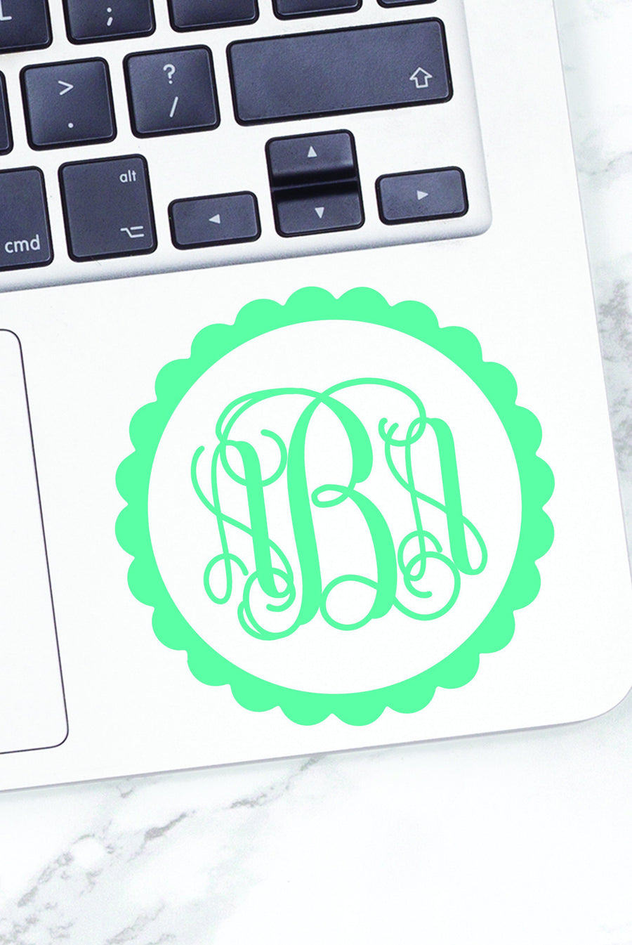Scallop Monogrammed Vinyl Decal, accessories, Sunny and Southern, - Sunny and Southern,