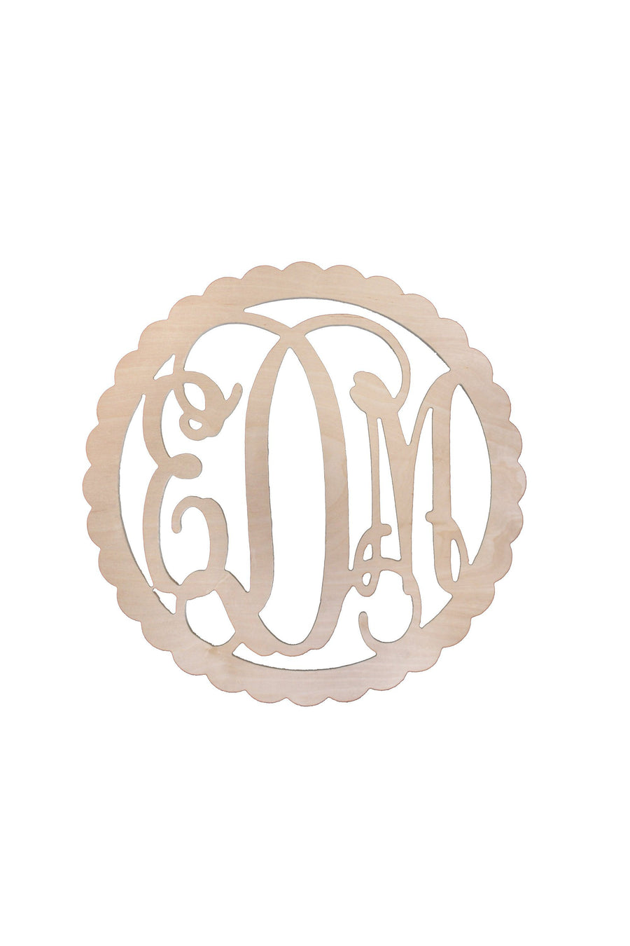 22 Inch Scallop Wood Monogram, Home, WB, - Sunny and Southern,