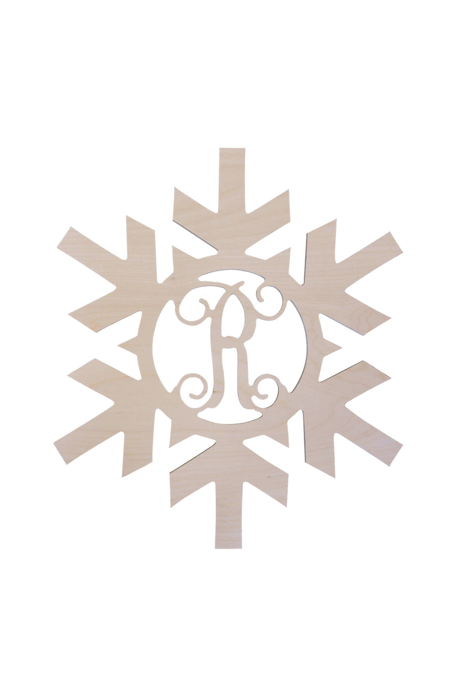Monogrammed Single Initial Wood Snowflake, Home, WB, - Sunny and Southern,