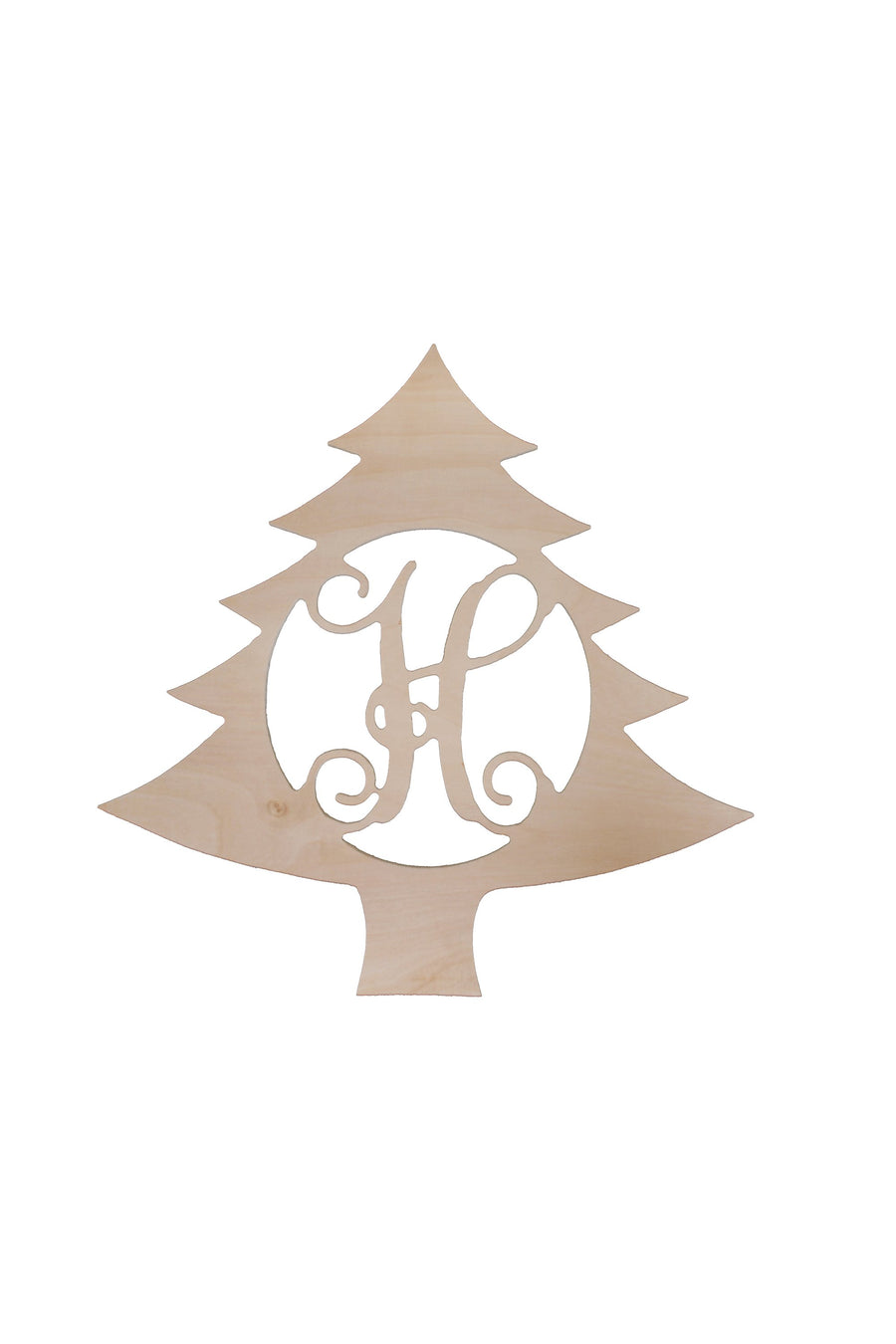 18 in Christmas Tree Wood Monogram, Home, WB, - Sunny and Southern,