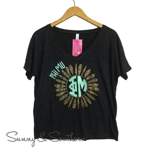 Greek Feather Bella + Canvas Slouchy Short Sleeve Tee, Ladies, Virginia, - Sunny and Southern,