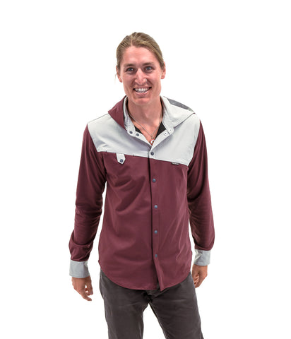 Men's Imperial Red Performance Snap Hooded Shirt Jacket - Polyester/Spandex Micro Double-knit - Antimicrobial and moisture wicking