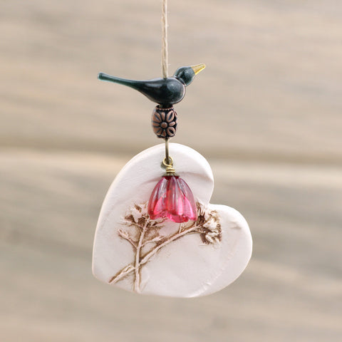 Custom bird Ceramic heart ornament with wildflowers