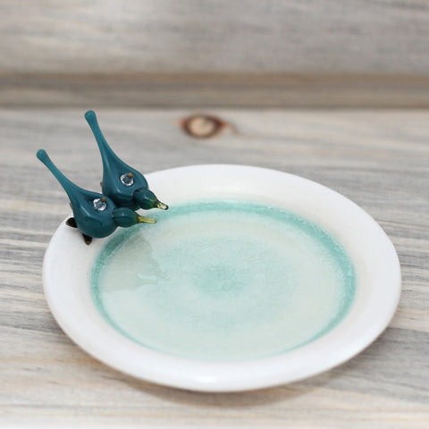 Blue birds ceramic trinket plate - Elise Thomas Designs