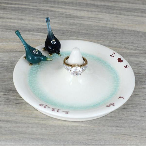 Pretty ring dish for love birds, personalized with initials and date