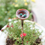 Garden lovers plant stake with glass bird nest and glass eggs