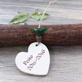 Personalized memorial bird ornament with custom text
