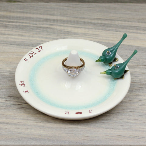 Engagement ring holder with Turquoise love birds