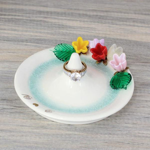 Beautiful flower center stem ring holder with colorful floral bouquet,