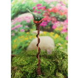 Garden art plant stake with green bird