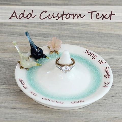 Glass love birds and flower ceramic ring holder personalized with custom text