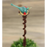 Yard art artisan-made turquoise blue bird copper plant stake