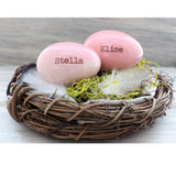 2 Personalized eggs in birds nest Mother's gift