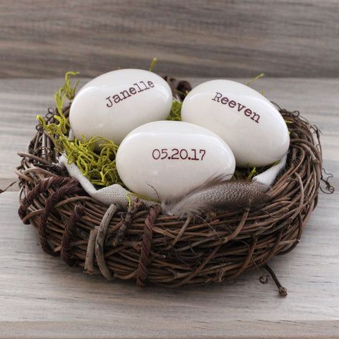 Custom name personalized egg mother's gift, 1-4 white eggs