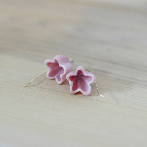 Pink flower earrings - Elise Thomas Designs