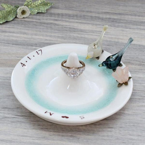 Pottery anniversary ring holder with glass birds and flower, personalized