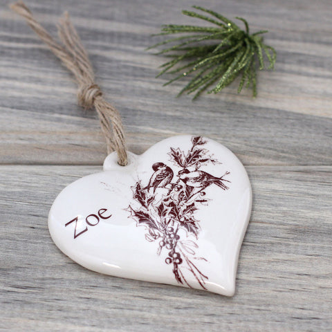 Personalized ceramic heart ornament