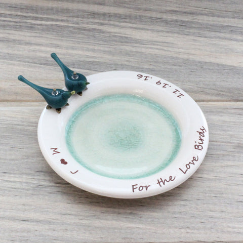 Personalized birds trinket plate or soap dish