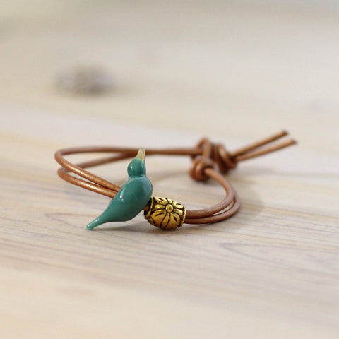 Turquoise blue bird bracelet - Elise Thomas Designs