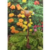 Unique garden or plant stake with canary yellow bird gift for gardener