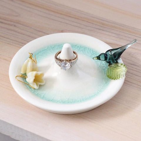Aqua blue bird ring holder