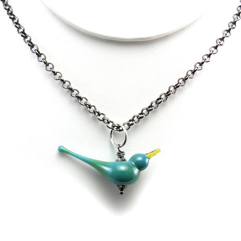 Blue bird necklace for bird lovers - Elise Thomas Designs