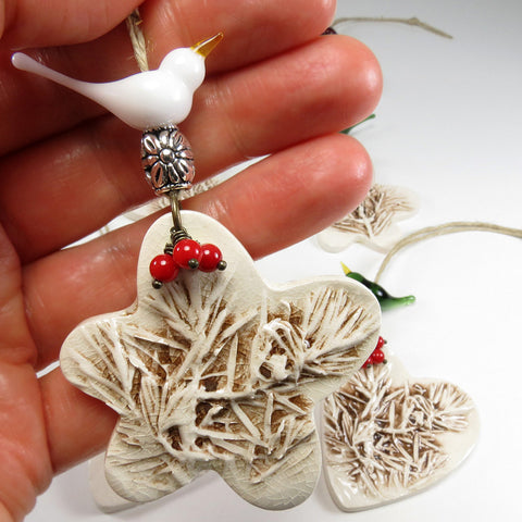 Ceramic clay star bird Christmas tree ornament - Elise Thomas Designs