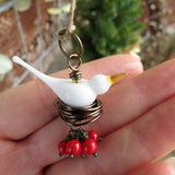 Dove holiday tree ornament with red berries - Elise Thomas Designs