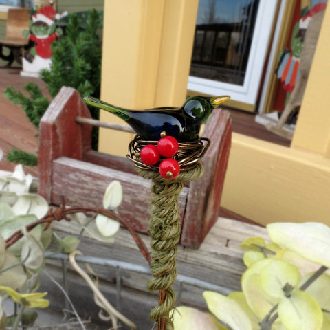 Emerald green bird with red berries plant stake - Elise Thomas Designs