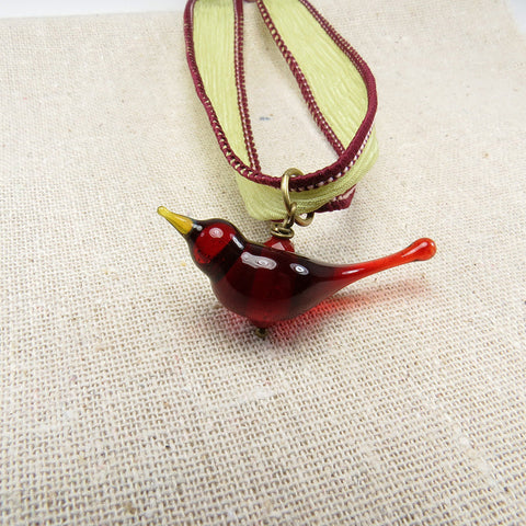 Ruby red romantic love bird necklace on green silk hand dyed ribbon - Elise Thomas Designs