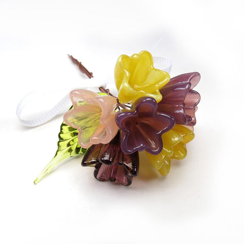 Tiny plum purple, sunshine yellow and peach tulip glass flower bouquet - Elise Thomas Designs
