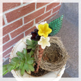 Yellow and purple glass flower bouquet garden plant stake - Elise Thomas Designs