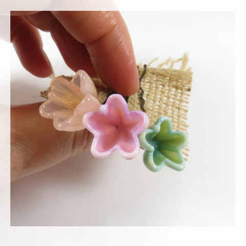 Flower hair pins in Mint, Blush, Peach flowers, set of 3 - Elise Thomas Designs