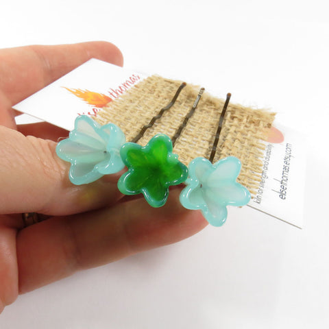 Emerald and Aqua flower hair clips - Elise Thomas Designs