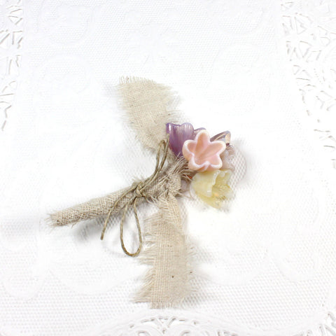 Fairy pink flower boutonniere, lapel flower or corsage with burlap and twine - Elise Thomas Designs