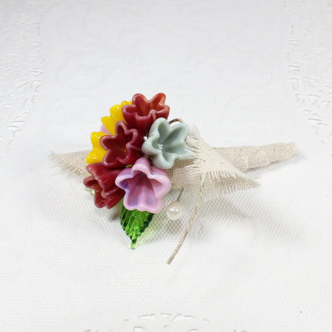 Woodland wildflowers custom Mother of the bride flower corsage - Elise Thomas Designs