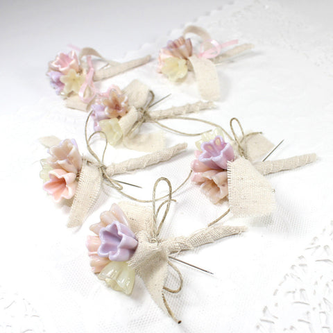 Rustic pink flower lapel flower corsages or  boutonnieres - Set of 6 - Elise Thomas Designs