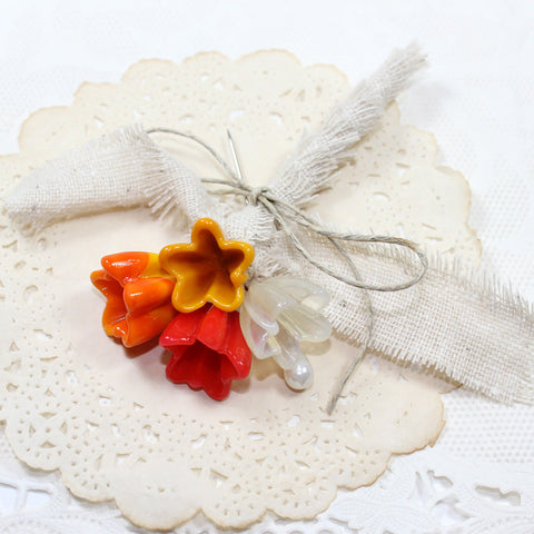 Rustic Fall boutonniere lapel corsage - Mustard, Pumpkin, Champagne and Poppy - Elise Thomas Designs