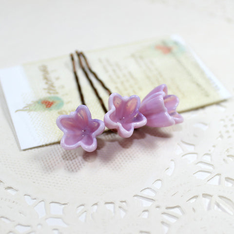 Blush pink flower hair pins, set of 3 - Elise Thomas Designs