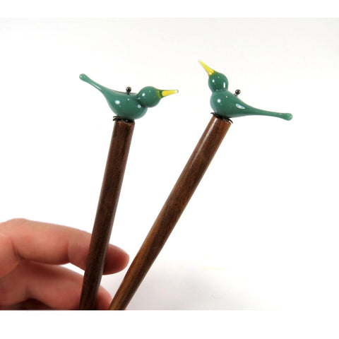 Love bird wooden hair sticks or bun pins - Elise Thomas Designs
