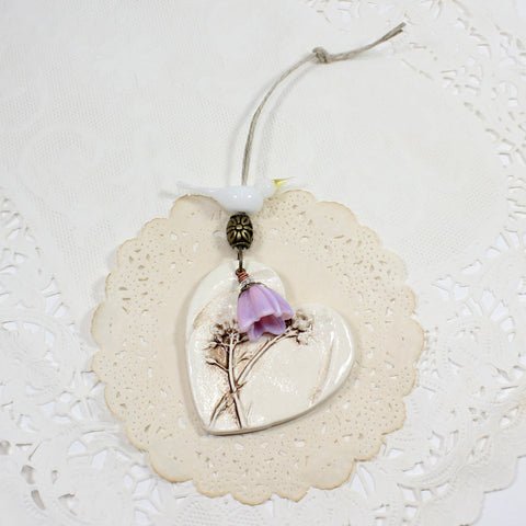 Custom bird Ceramic heart ornament with wildflowers - Elise Thomas Designs