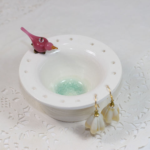 Pink bird earring pottery earring bowl