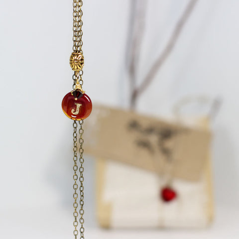 Marsala red Personalized initial necklace - Elise Thomas Designs