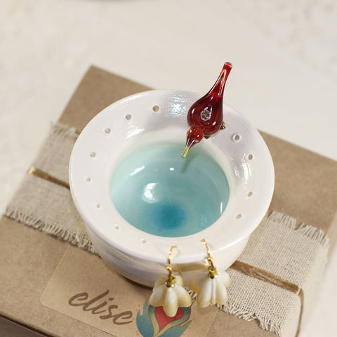 Red love bird pottery earring holder bowl - Elise Thomas Designs
